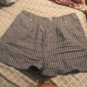 cute blue and white striped shorts